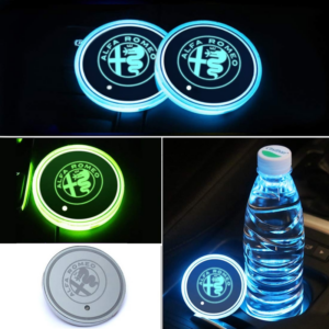 2PCS Car LED Cup Holder Lights for Alfa Romeo with 7 Colors Changing