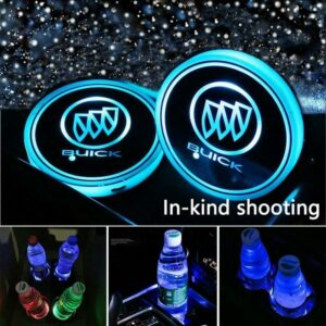 2PCS Car LED Cup Holder Lights for Buick with 7 Colors Changing USB Ch