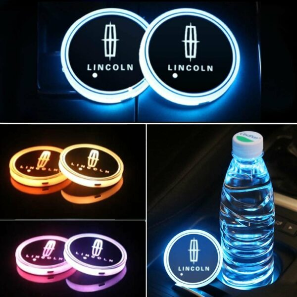2X LED Car Cup Holder Lights for Lincoln With 7 Colors Changing