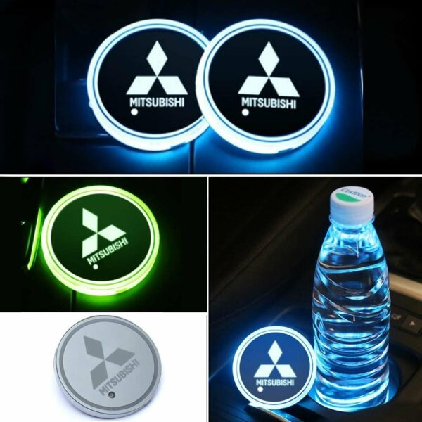 2X LED Car Cup Holder Lights for Mitsubishi With 7 Colors Changing