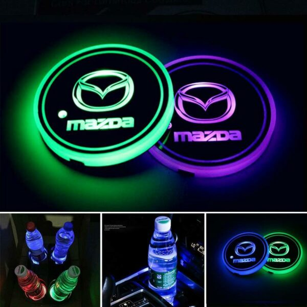 2X Mazda Car LED Cup Holder Lights with 7 Colors Changing USB Chargin 1