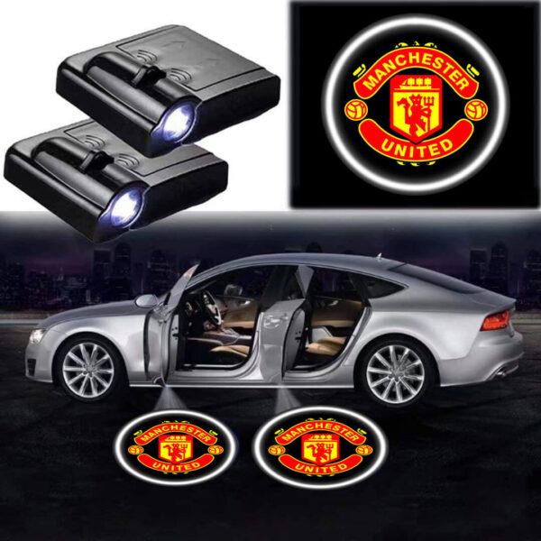 2X LED Car Door Manchester United Logo Lights