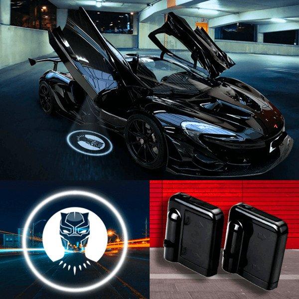 black panther logo car door lights
