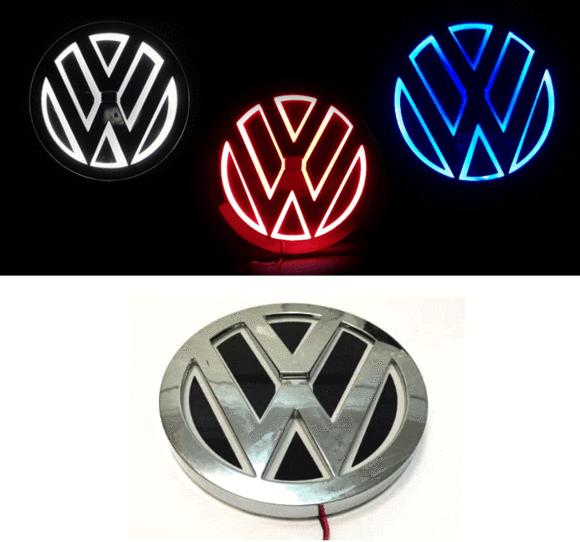 vw volkswagen 5d led illuminated car badge light emblems 11cm x 11cm