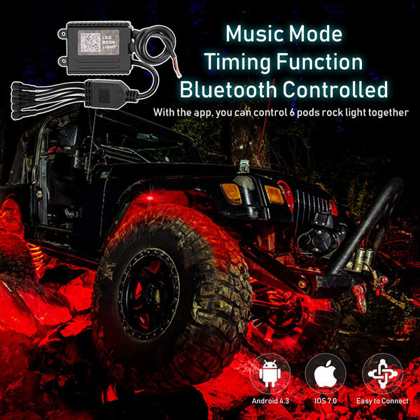Rgb Led Rock Lights 4 Pods Underglow Multicolor Neon Light accessories Lighting Kit Waterproof for Car 1