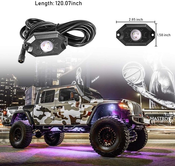 Rgb Led Rock Lights 4 Pods Underglow Multicolor Neon Light accessories Lighting Kit Waterproof for Car 3