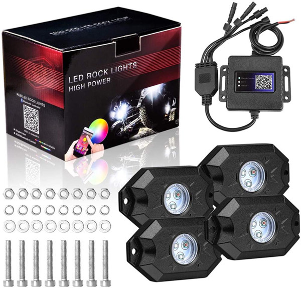Rgb Led Rock Lights 4 Pods Underglow Multicolor Neon Light accessories Lighting Kit Waterproof for Car